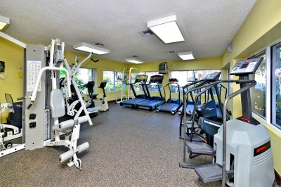 Fitness center at apartments for rent at Fairway View Apartments.
