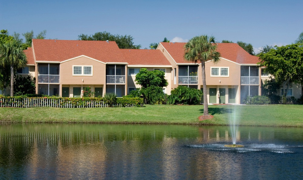 View of the pond at Azalea Village Apartments in West Palm Beach.