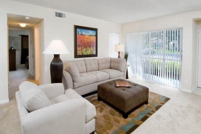Example living room at apartments for rent at Azalea Village.