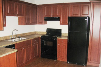 Example kitchen at apartments for rent at Azalea Village.