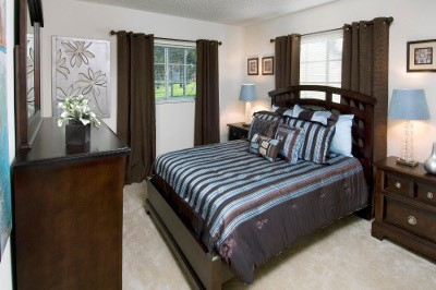 Example bedroom at apartments for rent at Azalea Village.