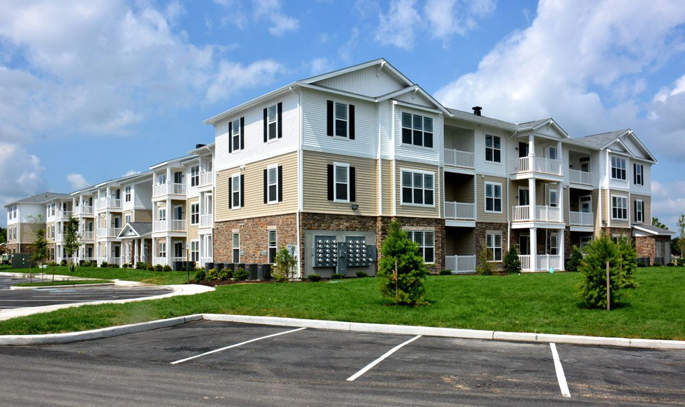 Exterior of apartments for rent at Addison Court in Salisbury.