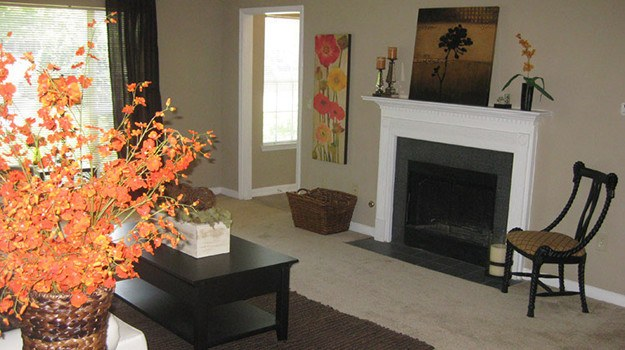 Some of our apartment homes come equipped with wood-burning fireplaces here at River Vista in Atlanta