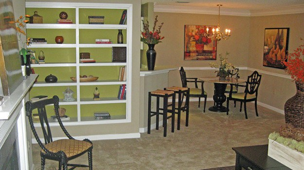 A view into what the living and dining areas look like in resident apartment homes here at River Vista