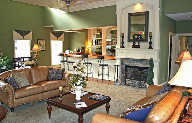 The model unit's living room at The Vinings at Newnan Lakes in Newnan is about as inviting and luxurious as it gets!