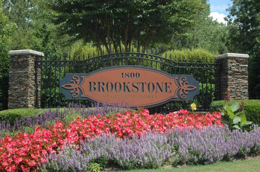 Our sign welcomes residents and their guests alike here at Brookstone in Rock Hill