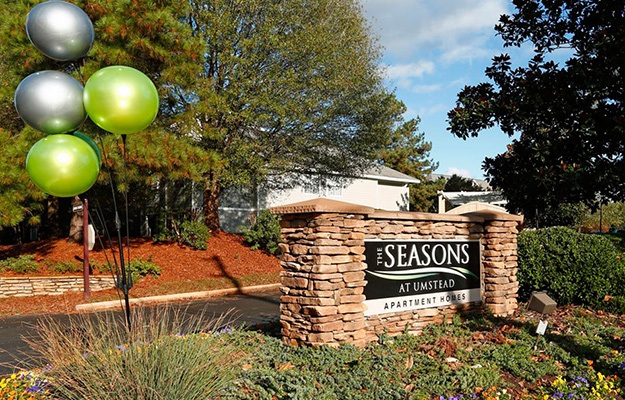 Our sign welcomes residents and their guests here at The Seasons at Umstead