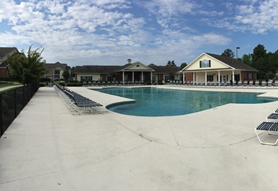 View of the sparkling swimming pool at our luxury apartment community in Valdosta, GA