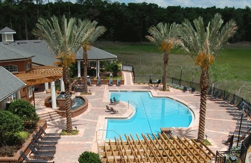 Integra Landings has a beautiful pool and landscaping.