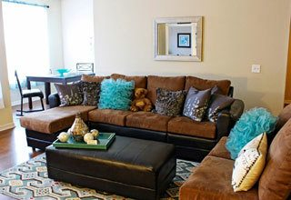 Spacious living room at the apartments for rent in Fayetteville