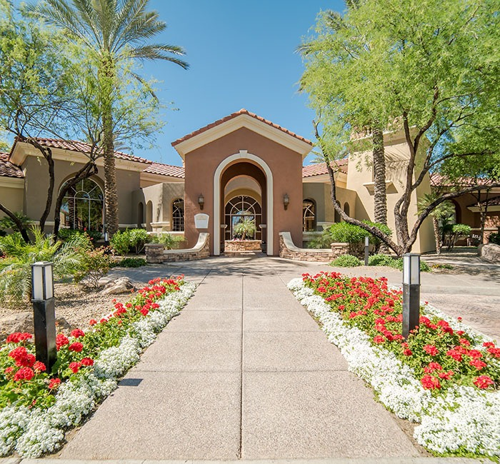 Beautiful front entrance to our apartments in Scottsdale