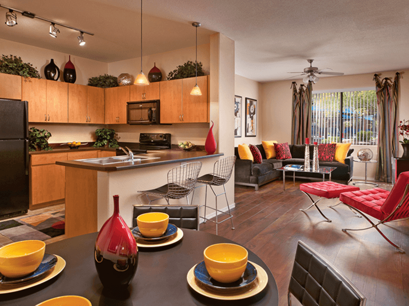 Open kitchen at apartments in Tempe, Arizona