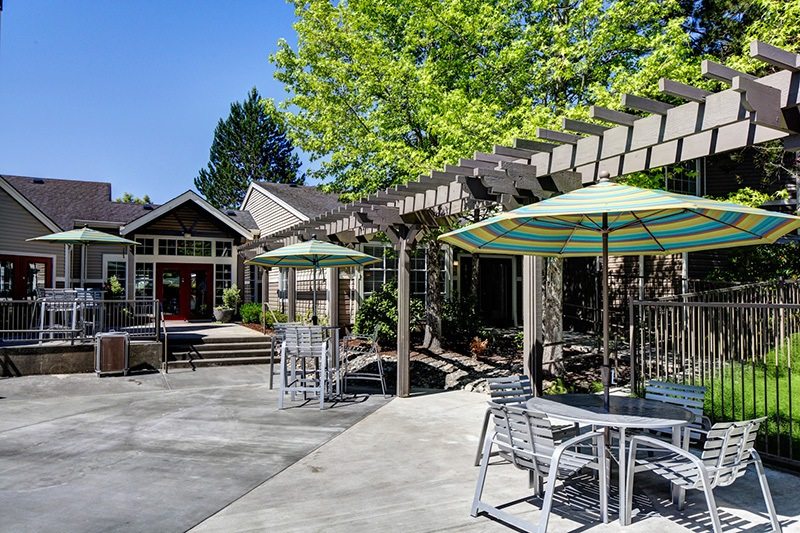 BBQ by the swimming pool at apartments in Mukilteo, Washington
