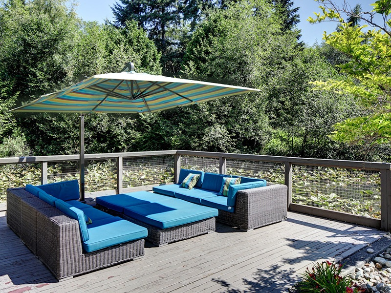 Relax on the patio at apartments in Mukilteo, Washington