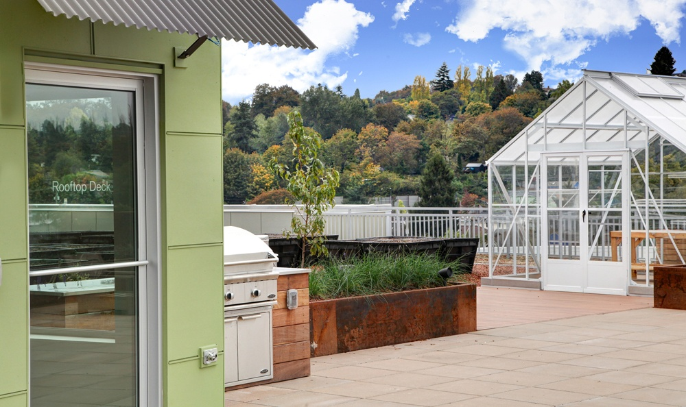 take advantage of the community greenhouse at angeline apartments
