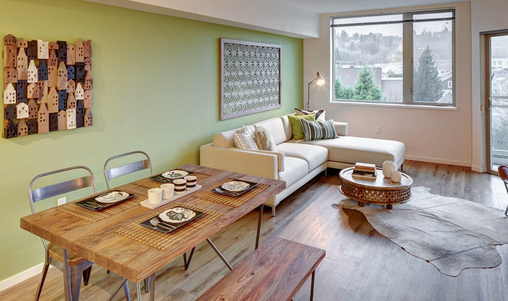 wooden floors add a touch of elegance to the dining areas in our apartments