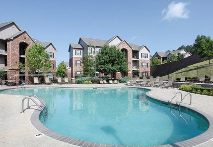 Luxury pool area at the apartments in Little Rock