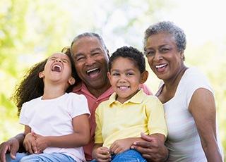 Happy family enjoying the sunshine at the senior living in Richmond, VA