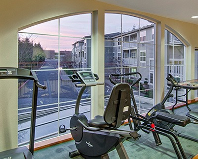 Exercise equipment at the senior living in Troutdale