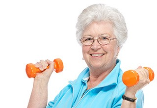 Resident exercising at the senior living in Calumet