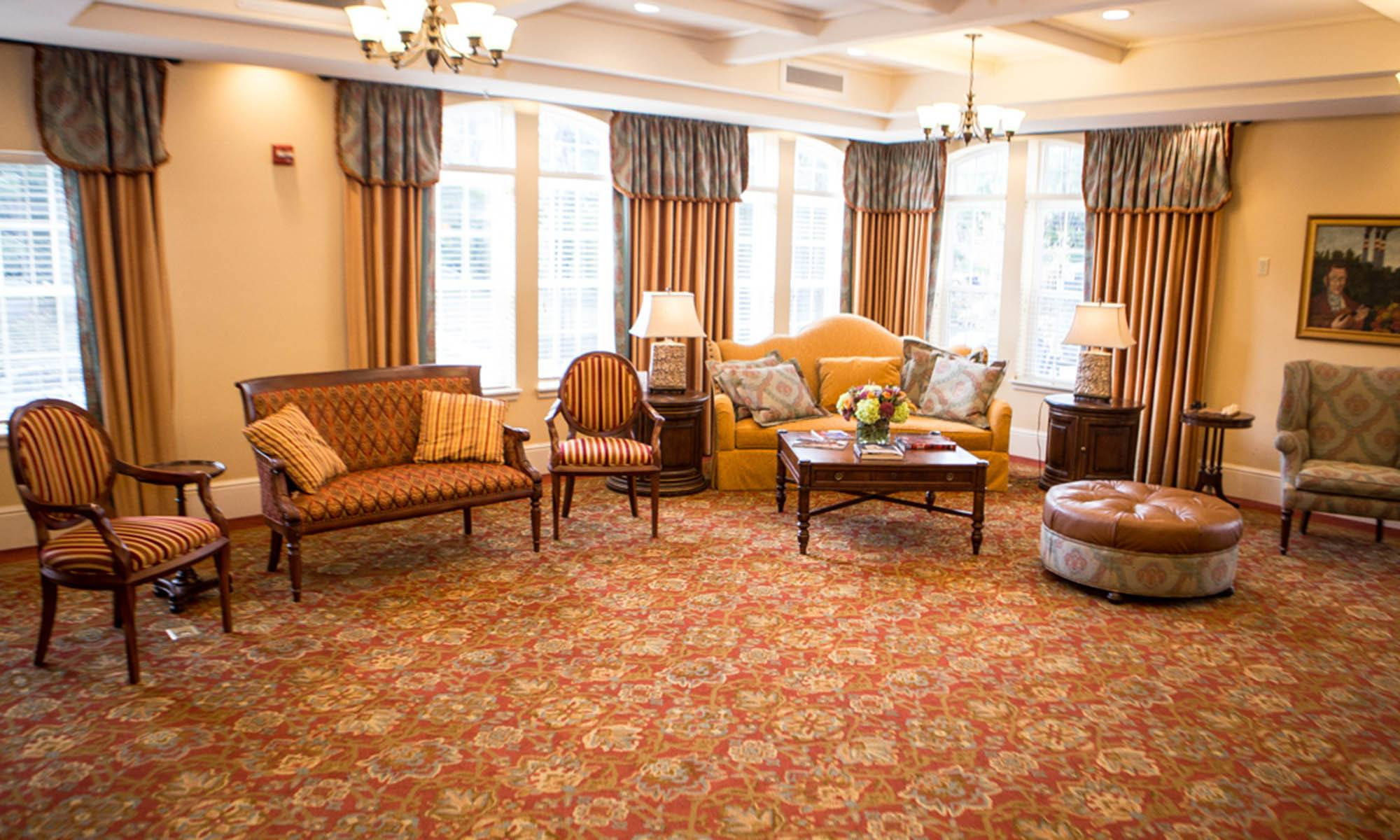 Common room at the senior living community in Bala Cynwyd
