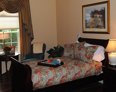 Bedroom at the senior living community in Bala Cynwyd