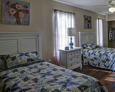 Spacious bedroom at the senior living in New Port Richey