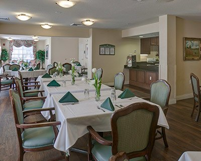 Common dining room at the senior living in New Port Richey