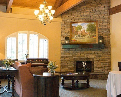 Senior living in Feasterville Trevose has a common fireplace for everyone to enjoy
