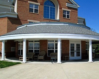 Front entrance at the senior living in Frederick