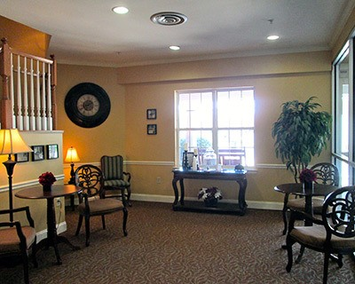 Spacious living room at the senior living in Frederick