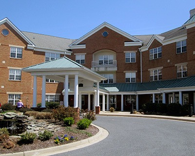 Welcoming front entrance at the senior living in Frederick
