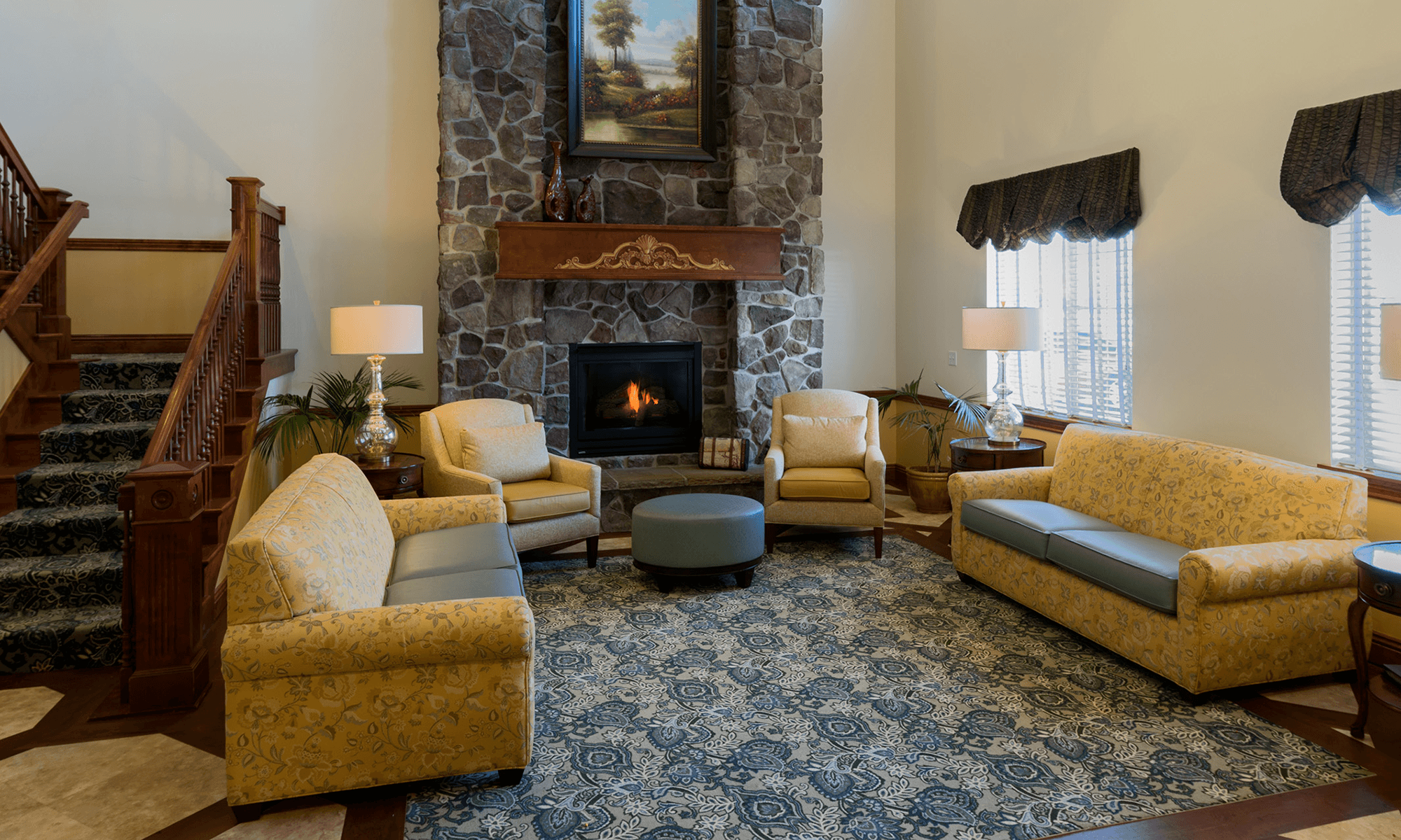 Senior living in Salt Lake City has a relaxing fireplace to keep warm