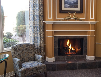 Senior living in St. George includes a fireplace lounge.