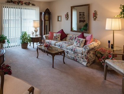 Spacious living room in St. George senior living.