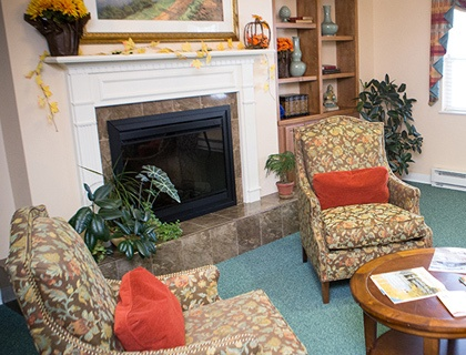 Senior living in Cadillac includes a fireplace den.