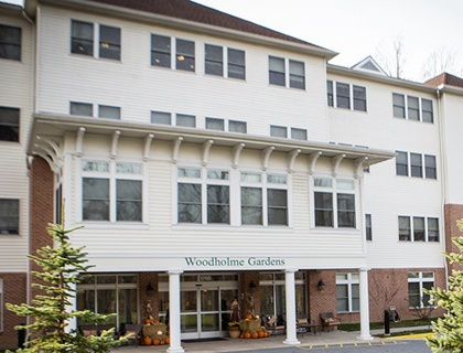 Welcoming front entrance at senior living in Pikesville.
