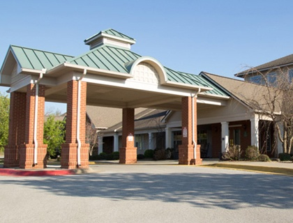 Fayetteville senior living welcoming front entrance.