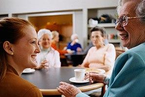 Residents enjoying tea at the senior living community in Fayetteville