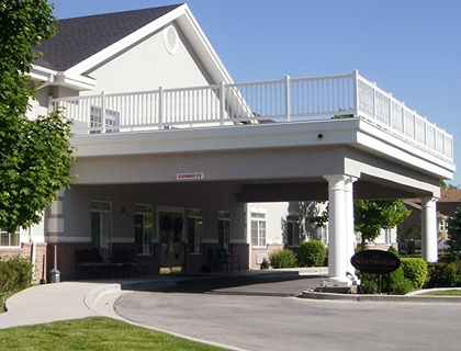 Welcoming entrance to senior living in Draper.