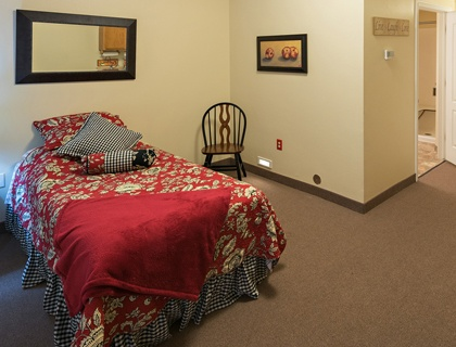 Spacious bedroom in senior living in Draper.