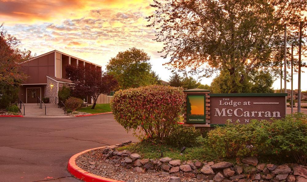 Monument Sign at The Lodge at McCarran Ranch Apartment Homes in Reno, NV