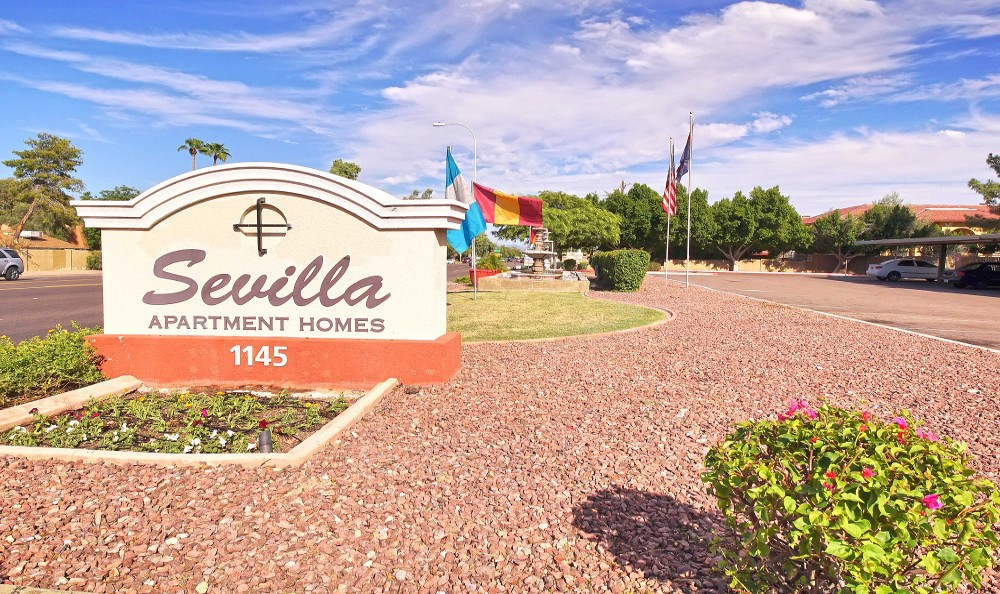 Sevilla Apartment Homes front entry sign