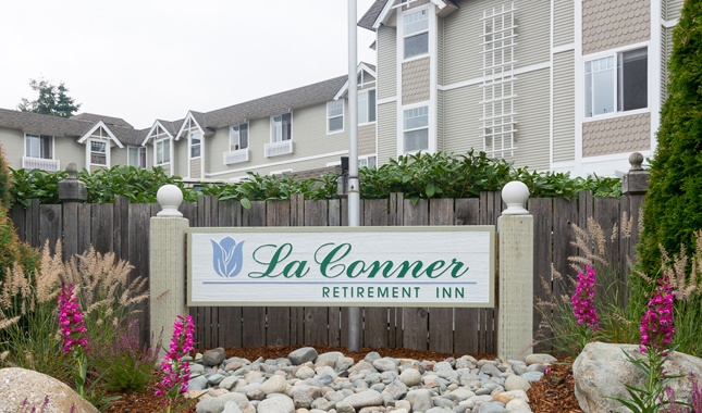 Exterior of La Conner Retirement Inn, senior living in La Conner, WA