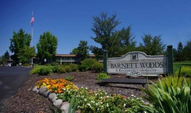 Sign at Barnett Woods, senior living in Medford, OR