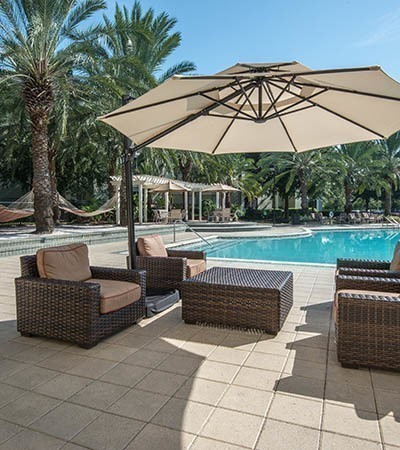 Poolside lounge at Legacy on the Bay in Destin