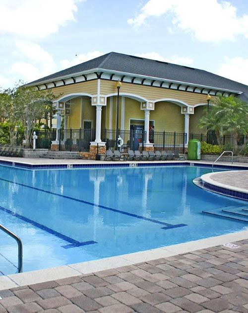 Pool area at Courtney Trace in Brandon