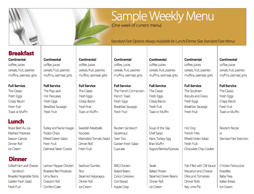 Sample Weekly Menu at Benton Village of Stockbridge in Stockbridge, GA