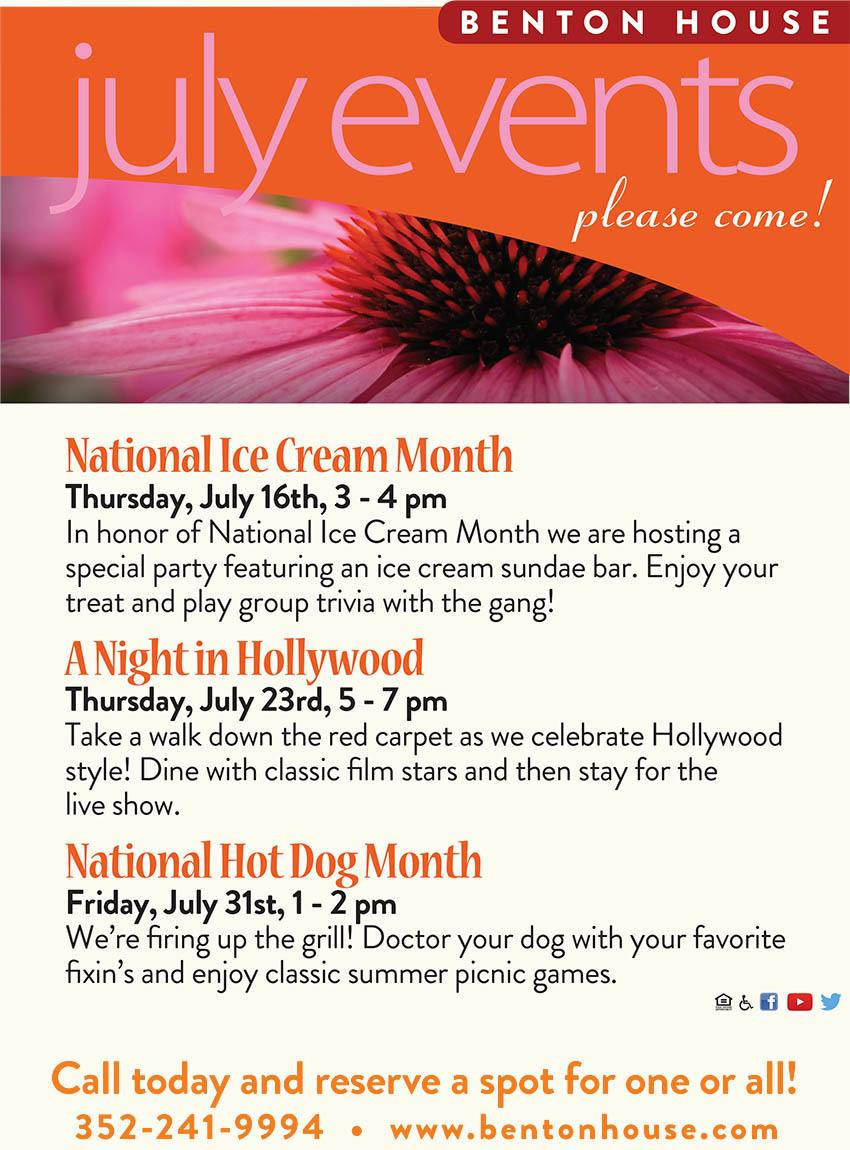 July 2015 special events at Benton house of clermont