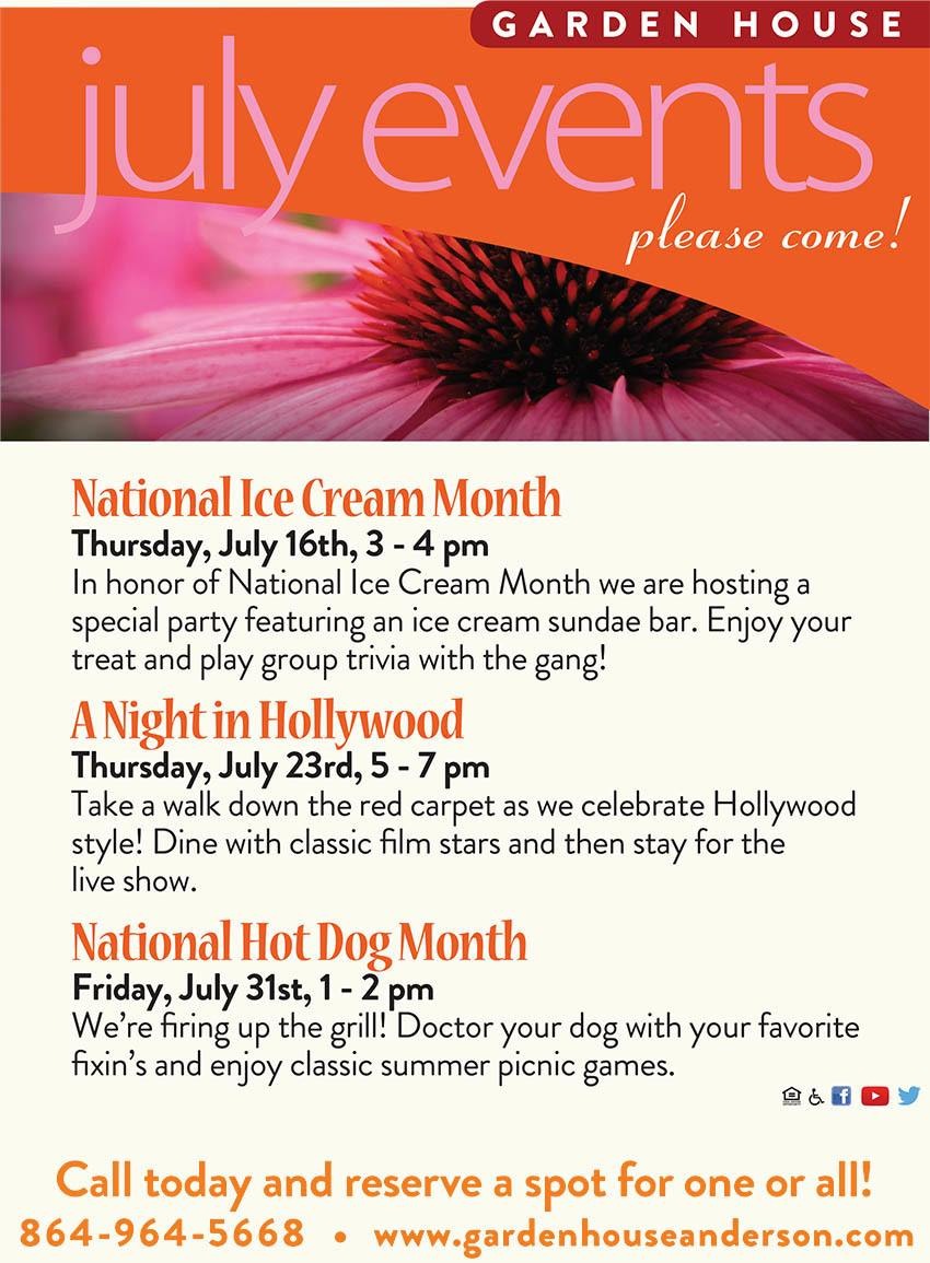 July 2015 special events at The Garden House